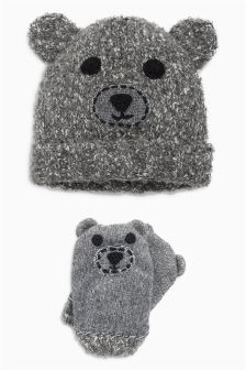 Bear Hat And Gloves Set (Younger Boys)