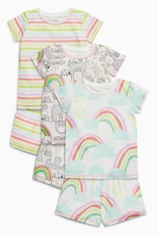 Rainbow Short Pyjamas Three Pack (9mths-8yrs)