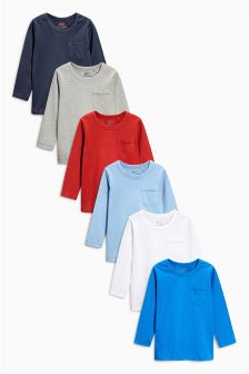 Multi Long Sleeve Essential Tops Six Pack (3mths-6yrs)