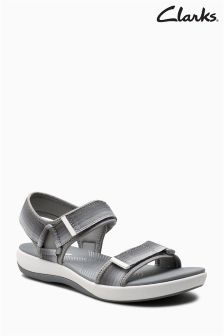 Clarks Grey Two Strap Cloudstepper Active Sandal