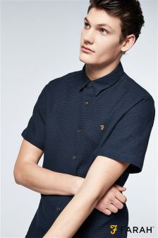 Farah Navy Textured Short Sleeve Shirt