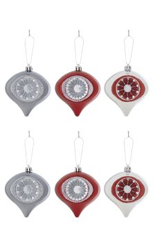 Set Of 6 Multicolour Droplet Baubles