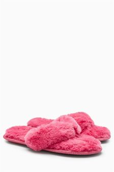 Toe Thong Faux Fur Slippers