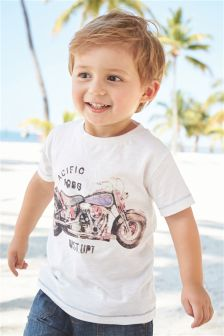 Short Sleeve Motorbike Print T-Shirt (3mths-6yrs)