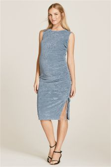 Maternity Ruched Velvet Dress