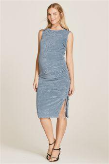 Maternity Ruched Velvet Dress