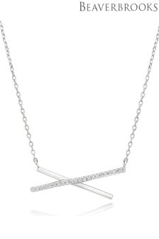 Beaverbrooks Silver Cross Cubic Zirconia Necklace