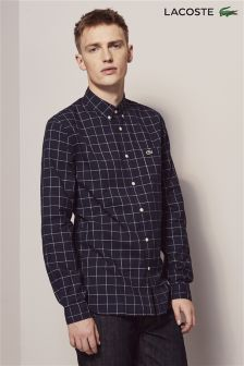 Lacoste® Navy Windowpane Check Shirt