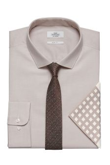 Slim Fit Oxford Shirt With Tie And Pocket Square