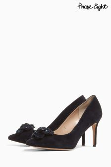 Phase Eight Midnight Navy Sasha Suede Sparkle Rose Point Shoe