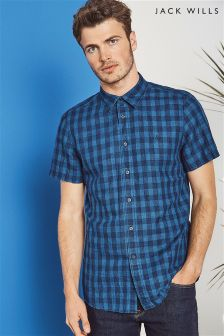 Jack Wills Navy Stableton Short Sleeve Check Shirt