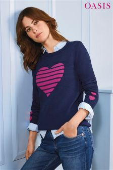 Oasis Blue Cosy Heart Knit Jumper