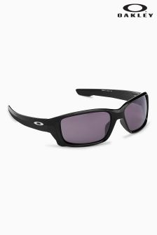 Oakley® Black Straightlink Polarized Wrap Around Sunglasses