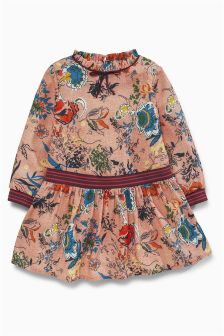 Floral Print Dress With Sporty Trims (3mths-6yrs)