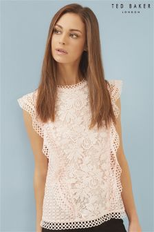 Ted Baker Baby Pink Zania Ruffle Mixed Lace Top