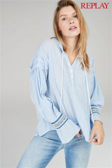 Replay® Blue Crinkle Boho Shirt