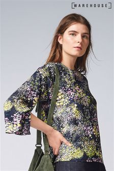 Warehouse Purple Wild Meadow Print Top