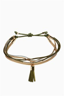 Tassel Multi Chain Pully Bracelet