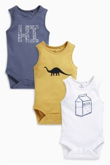 Slogan Vests Three Pack (0mths-2yrs)