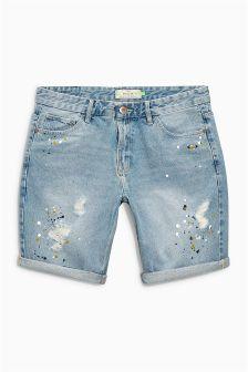 Paint Splat Rip And Repair Shorts