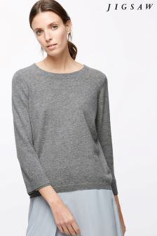 Jigsaw Grey Button Back Silk Cuff Jumper