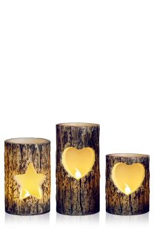 Set Of 3 Winter Spruce Fragranced LED Candles