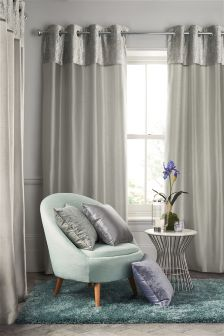 Crushed Velvet Band Eyelet Curtains