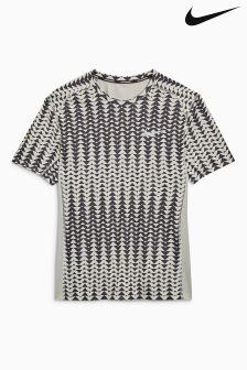 Nike Run Pale Grey/Black Printed Miler T-Shirt