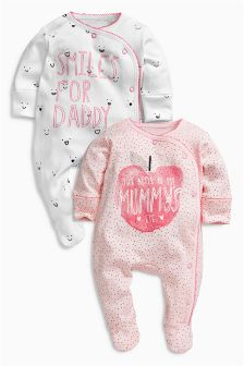 Apple Mummy And Daddy Sleepsuits Two Pack (0mths-2yrs)