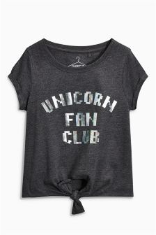 Unicorn Fan Club Tie Front T-Shirt (3-16yrs)