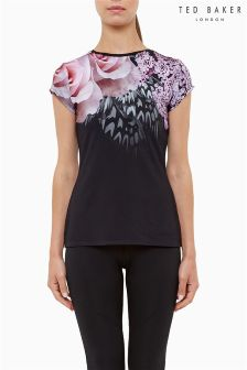 Ted Baker Black And Pink Butterfly Fitted Tee