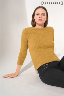 Warehouse Yellow Bobble Stitch Christmas Jumper