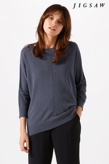Jigsaw Grey Button Back Dropped Hem Jumper