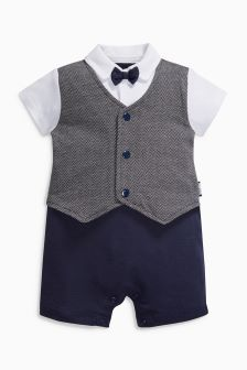 Smart Dress Up Short Legged Romper (0mths-2yrs)