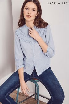 Jack Wills Blue Frill Blouse