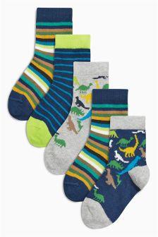 Dinosaur Bright Socks Five Pack (Younger Boys)