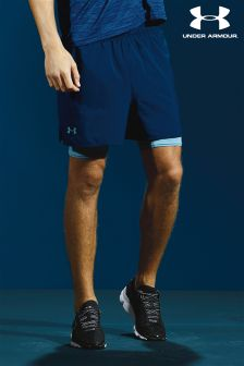 Under Armour Navy Qualifier 2 In 1 Short