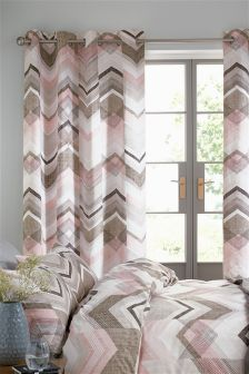 Texture Chevron Eyelet Curtains