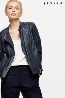 Jigsaw Ink Nappa Leather Biker Jacket