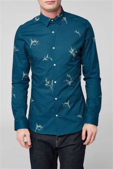 Long Sleeve Leaf Print Shirt
