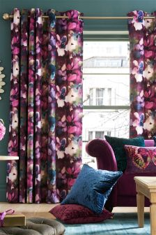 Abstract Floral Velvet Curtains