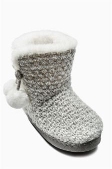 Knitted Slipper Boots (Older Girls)
