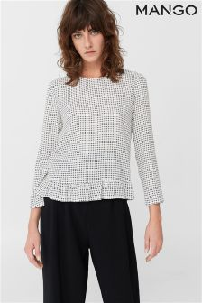 Mango White Grid Print Blouse