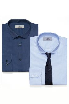 Textured And Plain Shirts And Tie Set