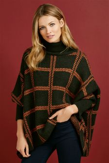 Oversized Check Poncho