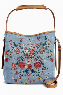 Floral Embroidered Hobo Bag