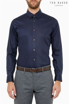 Ted Baker Navy Tonal Stripe Shirt