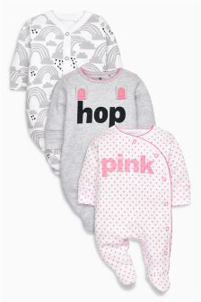 Slogan Bunny Sleepsuit Three Pack (0mths-2yrs)