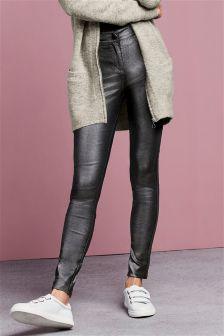 High Waist Super Skinny Coated Jeans