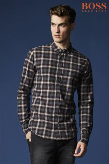 Boss Orange Grey Plaid Check Shirt